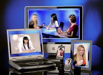 Various computer and handheld displays used for online learning